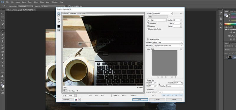 Photoshop optimizacion imagen wordpress