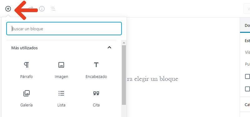Guía tutorial de Gutenberg como añadir un bloque