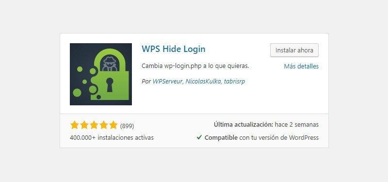 Cambia o wp-admin hide login instalacion