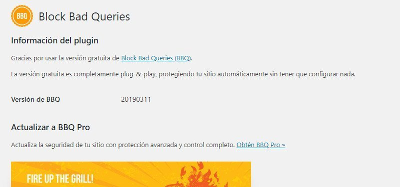 Block Bad Queries configuracion plugin