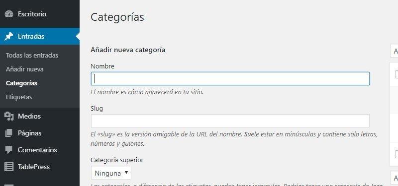 Añadir nueva categoría WordPress