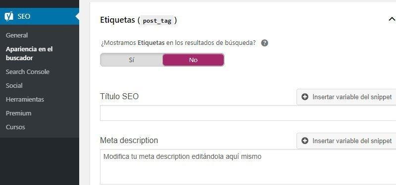 Plugin de YOAST SEO WordPress en la opción de las etiquetas
