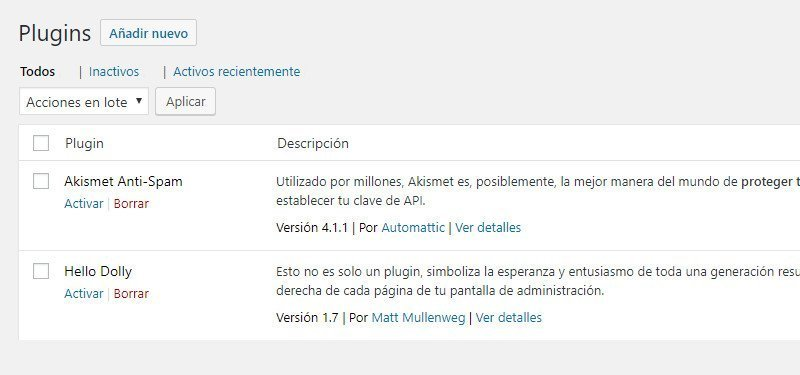 Ajustes iniciales de WordPress borrar plugins