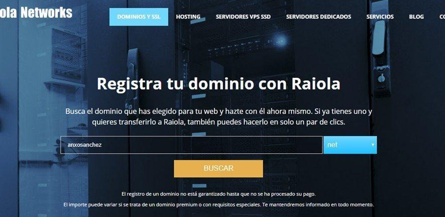 Raiola como comprar dominios y hosting