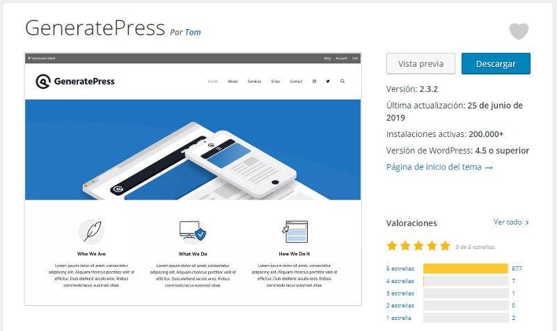 GeneratePress en el repositorio de WordPress