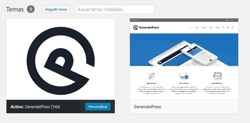 GeneratePress child instalado en un WordPress