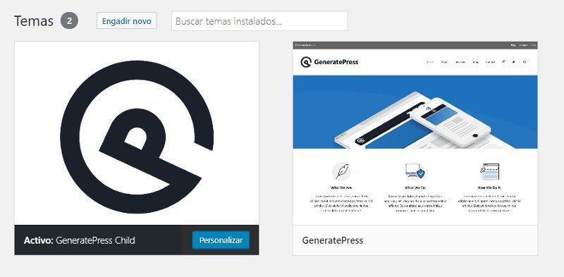 GeneratePress child instalado en un WordPress