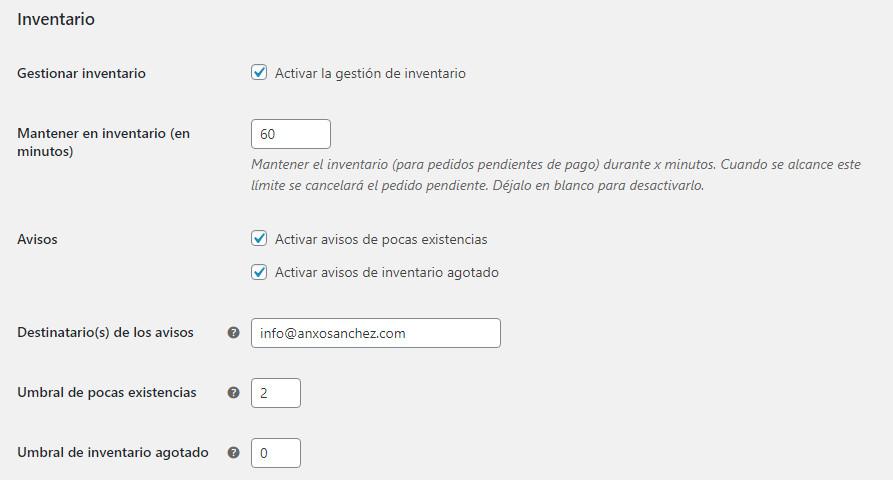 Configuración de inventario en WooCommerce