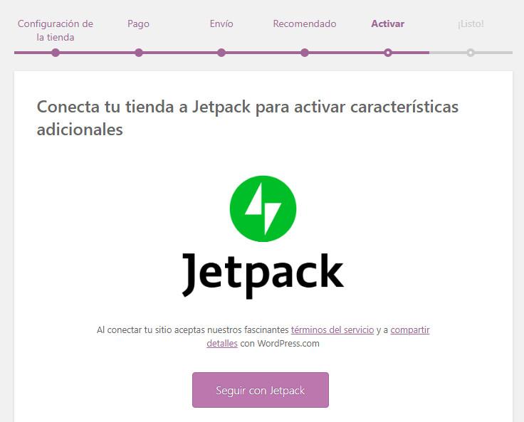 Configuración rápida de WooCommerce en WordPress. Activar Jetpack