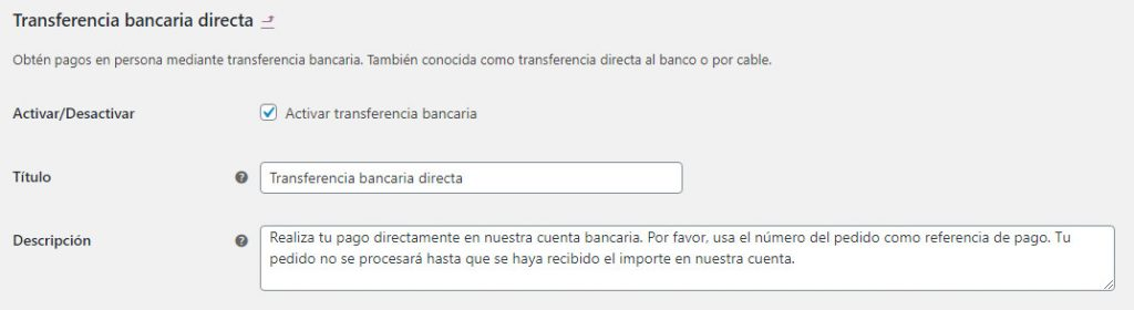 Transferencia bancaria WooCommerce