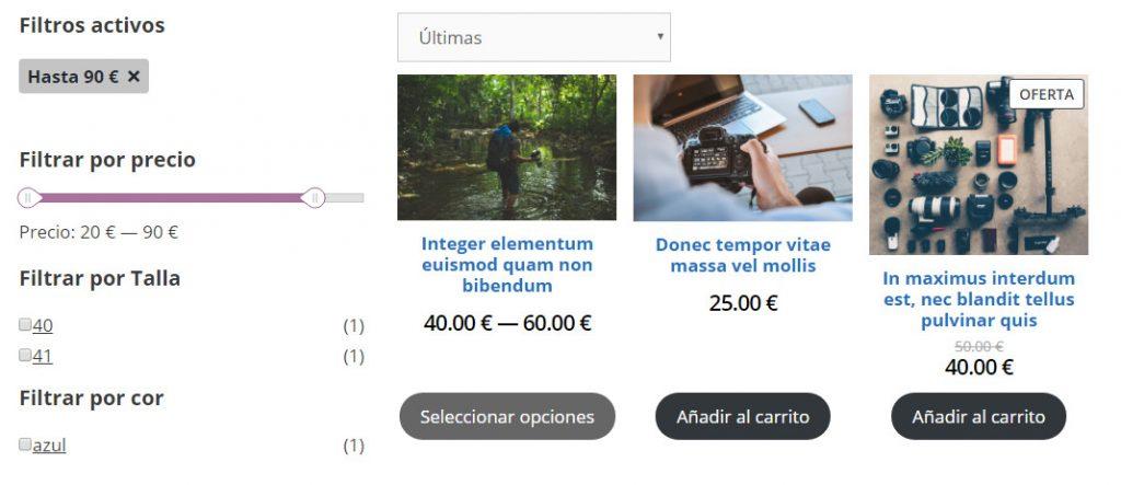 Bloques de filtros de tienda online en WooCommerce