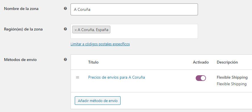 Zona de envío configurada con el plugin Flexible Shipping para WooCommerce