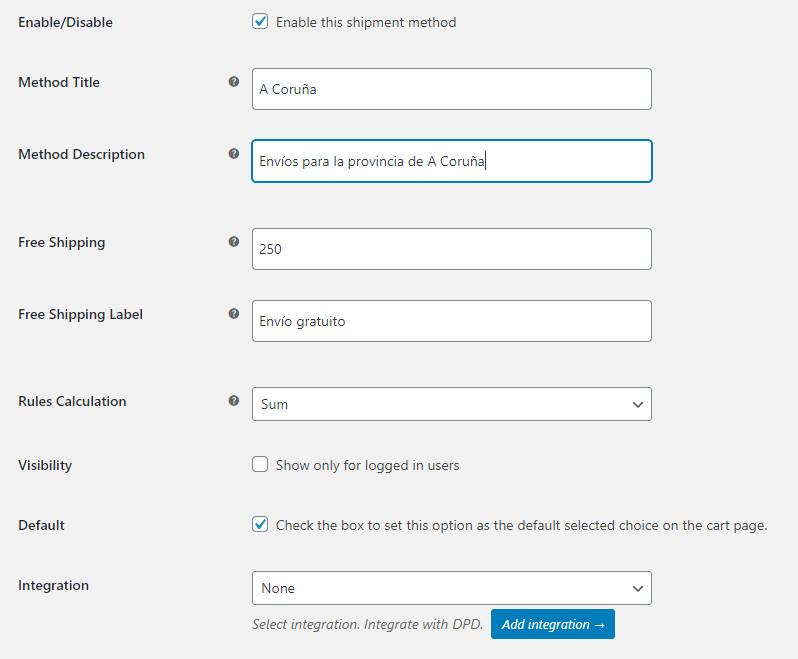 Datos de configuración del envío en el plugin Flexible Shipping para WooCommerce